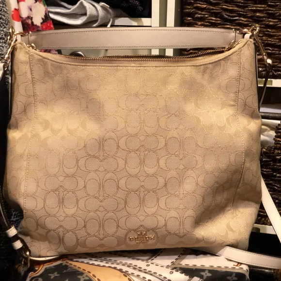 Coach Handbags - Cream and gold coach hobo